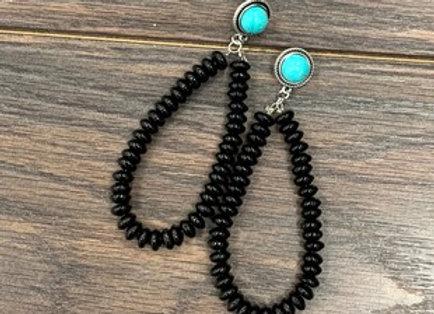 Black Bead Post Earrings
