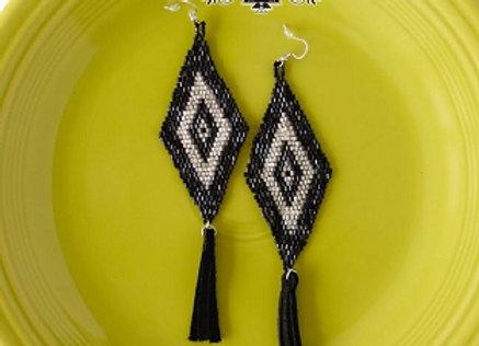 Broken Bow Black and Silver Bead Earrings