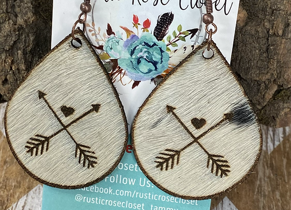 Cowhide Teardrops Engraved Cross Arrows with a Heart Earrings