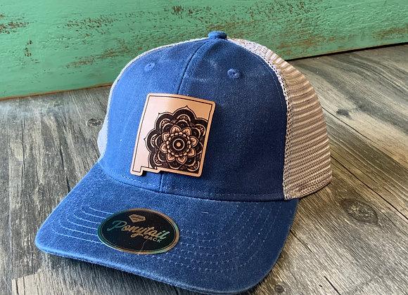 NM Shape Floral Design Leather Patch Ponytail Hat