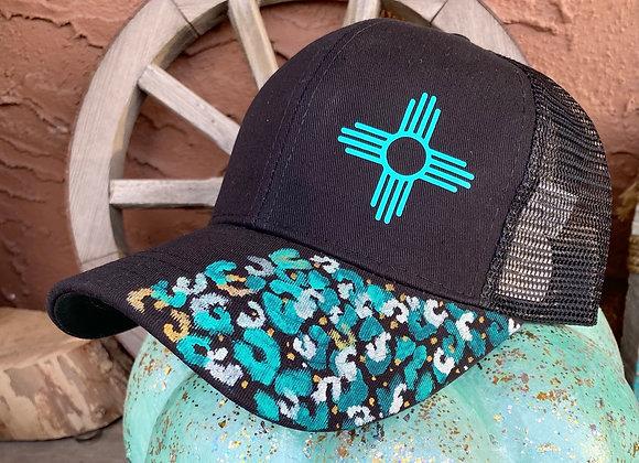 Ponytail Zia Leopard Painted Hat