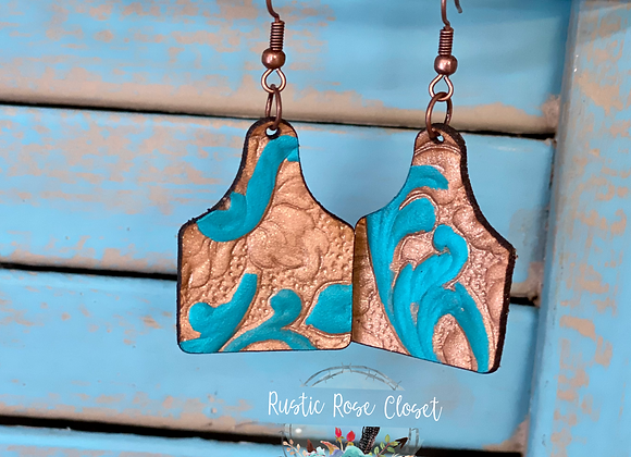 Tooled Leather Eartag Earrings
