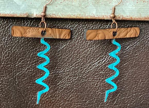 Cork Screw Tooled Leather Earrings