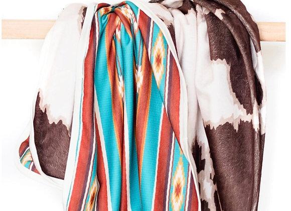 Cowprint Aztec Adult Size Blanket