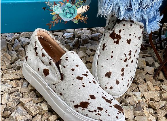 Cowhide Van Slip on Tennis Shoes