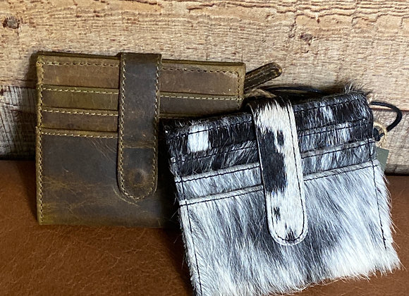 BROWN STAIN LEATHER AND HAIRON WALLET