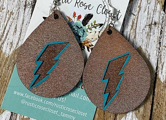 Lightening Bolt Wood Teardrop Earrings