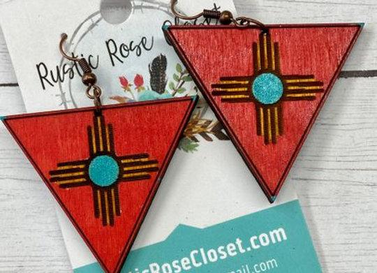 Zia Triangles Wood Earrings