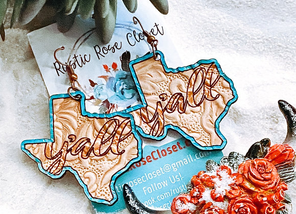Y'all Texas Tooled Leather Handpainted Earrings