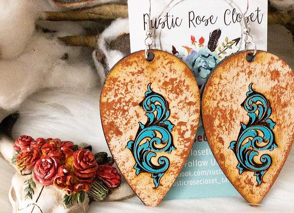 Wood Teardrop Turquoise Design  with Copper Splatter