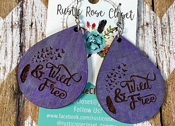 Wild & Free Wood Teardrop Earrings