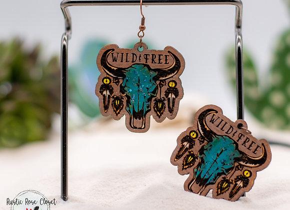 Boho Wild & Free Steer Head Wood Earrings