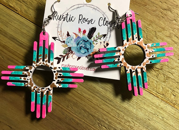 "2"" Zia Wood Earrings Hand-painted Multi Colors"