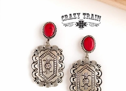 Red Ranger Concho Post Earrings