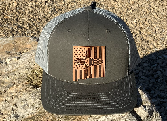 NM Shape Leather Patch Flag Zia Trucker Hats