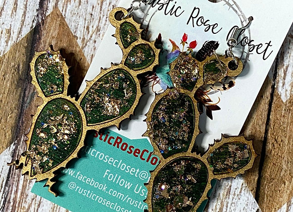 Cactus Wood Glitter Earrings