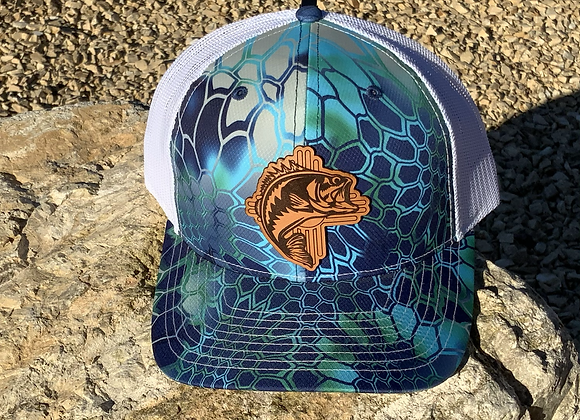 Fishing Leather Patch Trucker Hats