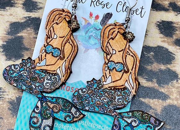 Mermaid Wood Earrings