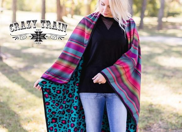 Leopard Serape Soft Adult Blanket