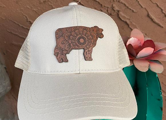 Cow Mandala Design Leather Patch on CC Ponytail Hat