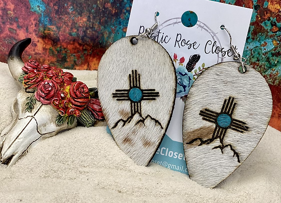 Zia Mountain Engrave with Turquoise Center Cowhide Teardrops