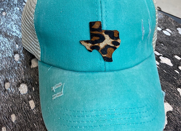 Leopard Hair on Hide Texas Patch on Crisscross Ponytail Hat