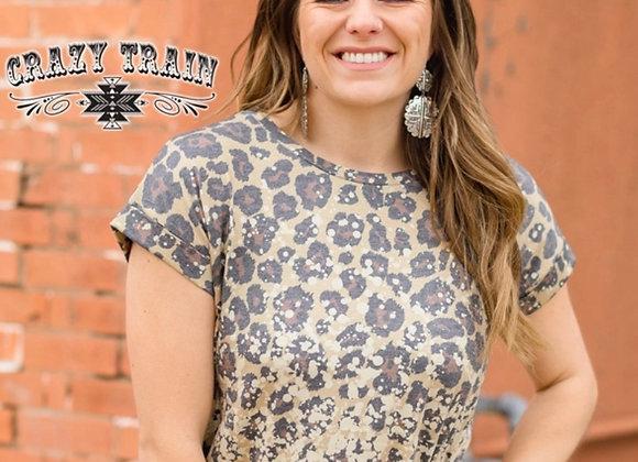 Leopard Acid Wash Top