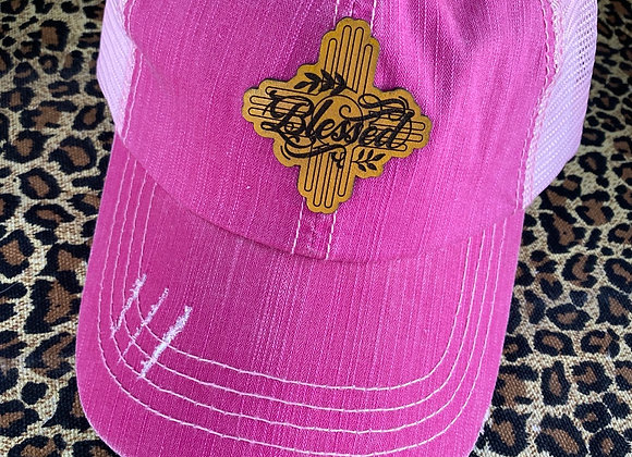 Blessed Zia Leather Patch on Pink Painted Ponyflo Hat