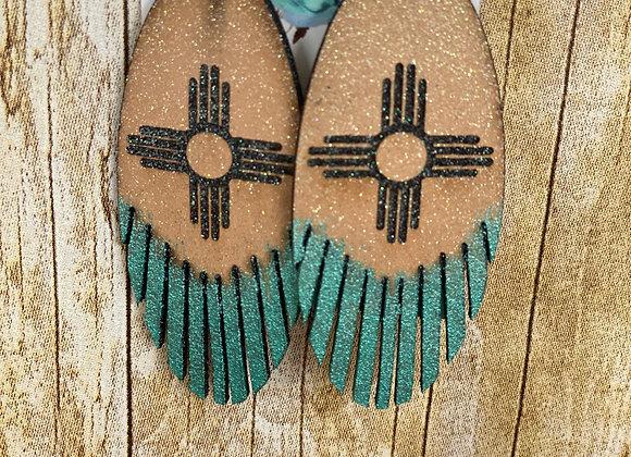 Leather Oval Fringe Zia Earrings