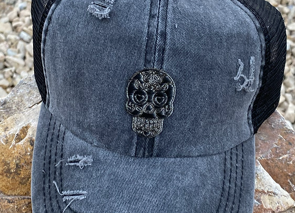 Sugar Skull Cowhide Patch Criss Cross Ponytail Hat