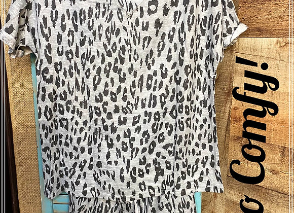 Gray  Leopard Short Sleeve Lounge Set