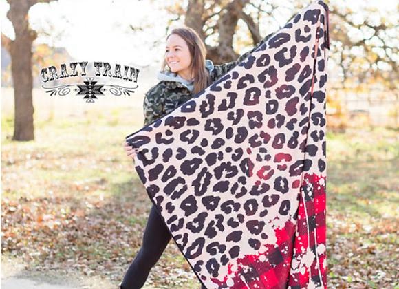 Plaid Leopard Soft Adult Blanket