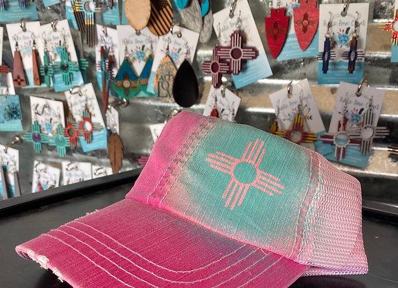 Pink/Teal Bleachsplashed Ponytail Hat