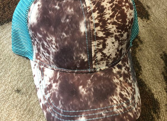Cow Print Mint Ponytail Baseball Hat by Crazy Train