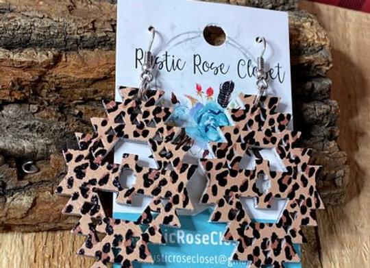 Aztec Leopard Wood Earrings