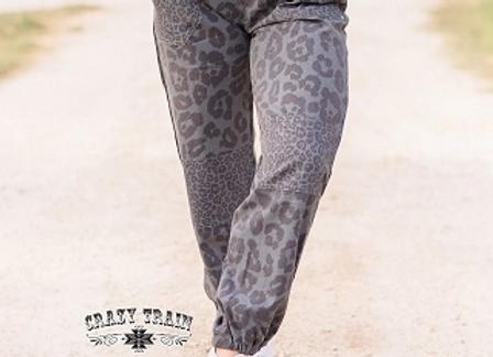 Brimstone Britches- Gray Leopard Joggers