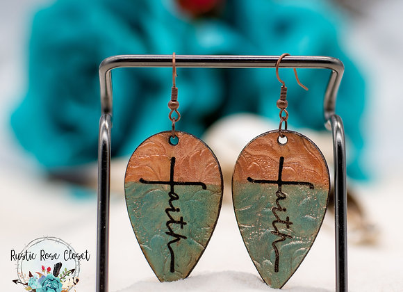 Faith Tooled Leather Handpainted Earrings