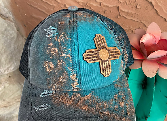 Zia Leather Patch Painted Criss Cross Ponytail Hat