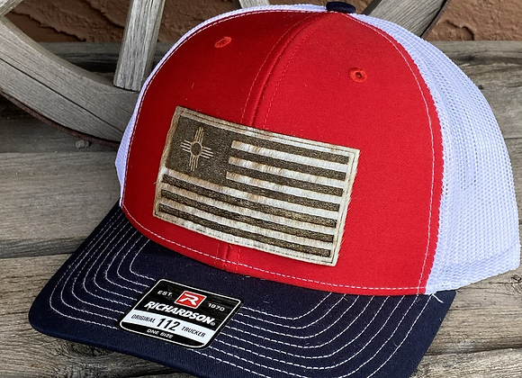 Flag Engraved Hide Patch on Richardson 112 Trucker Hat