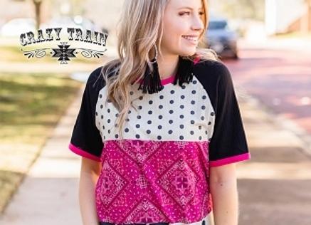 Pink Bandana Bandit Fashion Top with Cow Print and Polka Dots