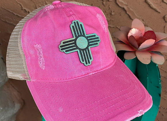 Zia Leather Teal & Bronze Patch Ponytail Trucker Hat