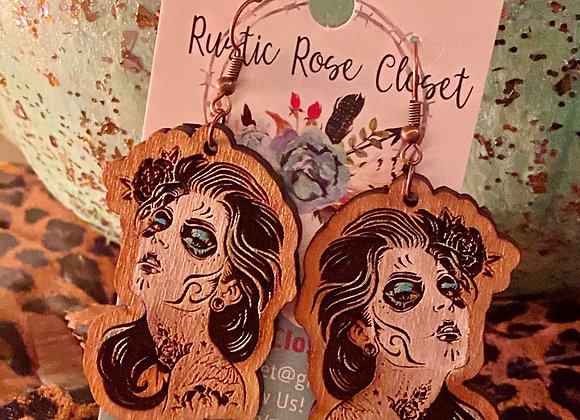 Dia de los Muertos Wood Earrings