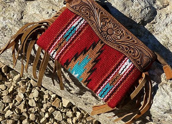Aztec Leather Wristlet Crossbody with Fringe