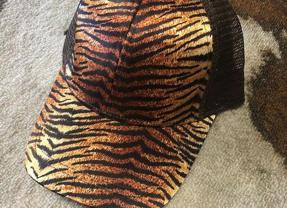Tiger Pattern Ponytail Hat