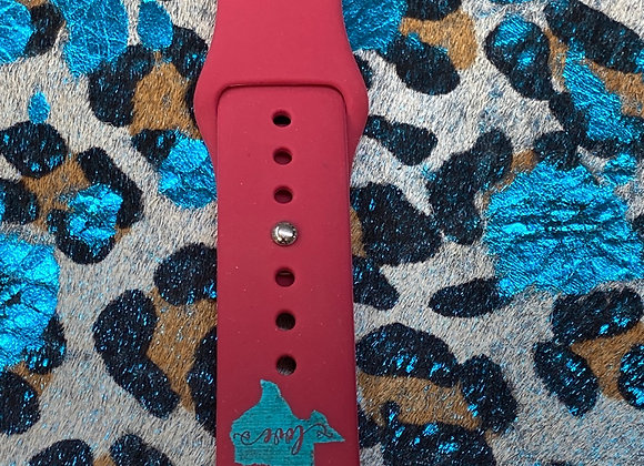 Texas Shape with Love Engraved Watchband 38/40