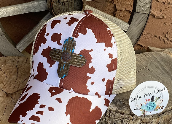 Cow Print Criss Cross Ponytail Messy Bun Hats with Zia Cowhide Cut Patch