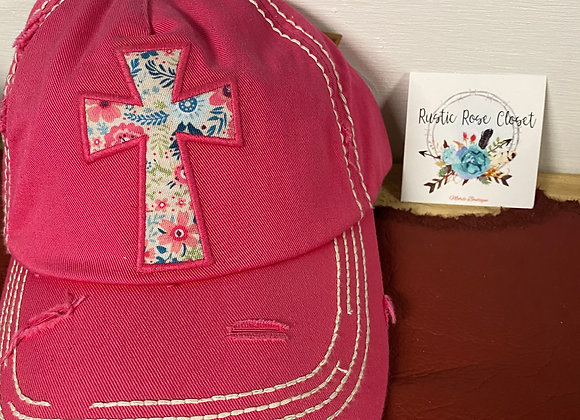 Pink Floral Cross Cap