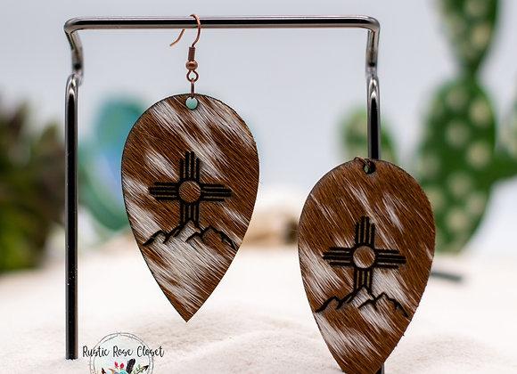 Cowhide Upside Teardrop Zia Mountain Engraved Earrings