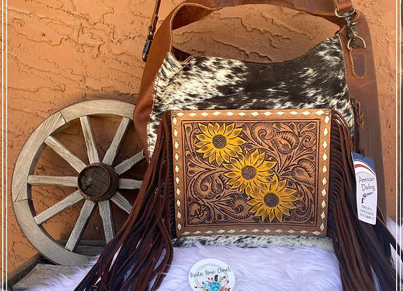 American Darling Cowhide Sunflower Fringe Bag