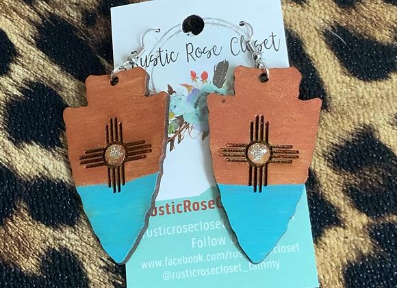 Arrowhead Wood Copper Turquoise Earrings